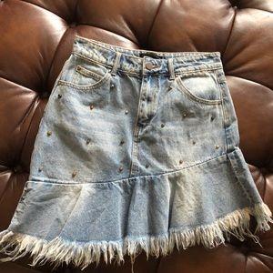 3013b012df9ef3 Mustard Seed Skirts | Nwt Medium Asymmetrical Studded Denim Skirt ...